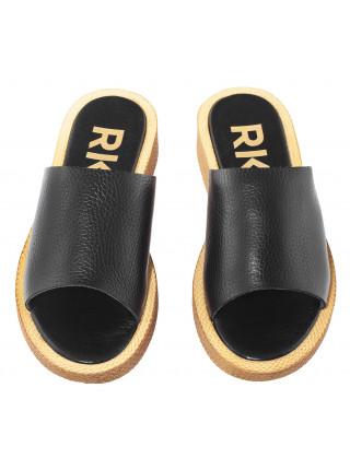 Шлепанцы кожаные RYLKO (Poland) 14445 черные