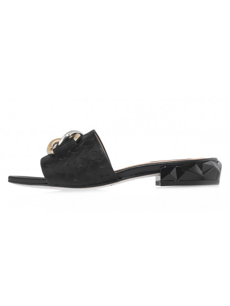 Шлёпанцы кожаные HELENA SORETTI (Italy) 14459 чёрные