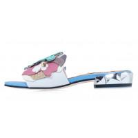 Шлёпанцы кожаные HELENA SORETTI (Italy) 14460 сине-бело-розовые