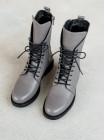 Ботинки осенние кожаные DESCARA (Turkey) 14469 фиолетово-серые
