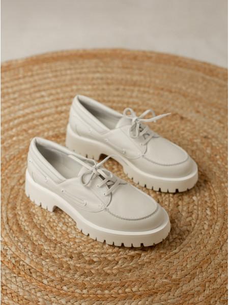 Туфли кожаные ANGELO BERVICATO (Italy) 14488 белые