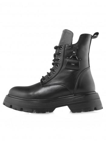 Ботинки осенние кожаные DESCARA (Turkey) 14510 чёрные
