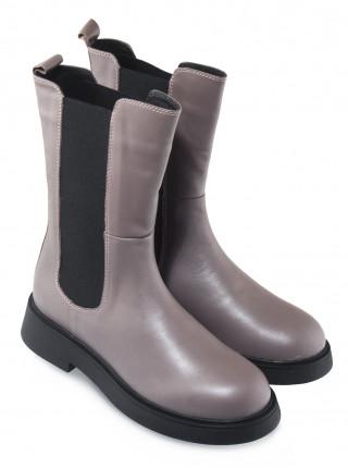 Ботинки осенние кожаные DESCARA (Turkey) 14512 фиолетово-серые