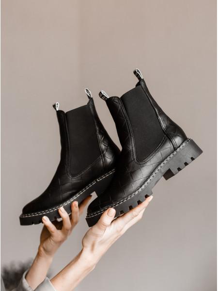 Ботинки осенние кожаные TAMARIS (Germany) 14536 чёрные