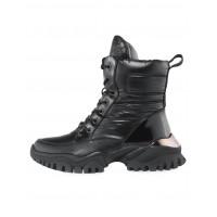 Ботинки осенние текстиль-искусственная кожа CITY SIGN (China) 14578 чёрные