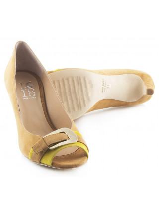 Туфли открытые замшевые 1,618 (Italy) 1652 светло-коричнево-желтые