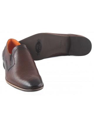 Туфли кожаные сетка сквозная BADURA (Poland ) 2279 коричневые