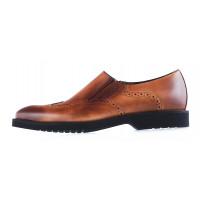 20016 CONHPOL (Poland ) Туфли-броги кожаные светло-коричневые на резинке