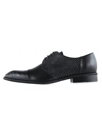 Туфли кожаные под рептилию CONHPOL DYNAMIC (Poland ) 20018 черные