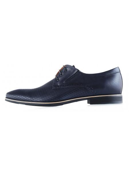 20022 CONHPOL (Poland) Туфли кожаные темно-синие сетка сквозная