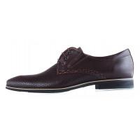 20023 CONHPOL (Poland) Туфли кожаные темно-коричневые сетка сквозная