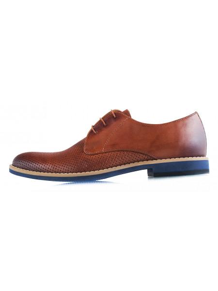20024 CONHPOL (Poland) Туфли кожаные светло-коричневые сетка сквозная