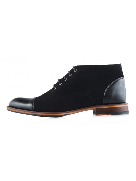 20039 CONHPOL (Poland ) Ботинки замшево-кожаные черные