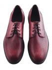 20079 CONHPOL (Poland) Туфли кожаные бордовые сетка сквозная
