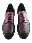 20082 CONHPOL (Poland) Туфли-спорт кожаные бордовые сетка сквозная