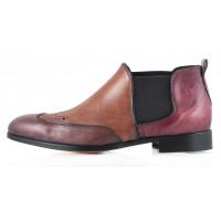 2295 DASTHON (Italy) Ботинки коричнево-бордовые-св.коричневые