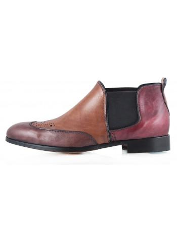 Ботинки-броги осенние кожаные DASTHON (ИТАЛИЯ) 2295 коричнево-бордовые