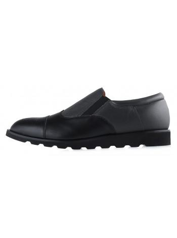 Ботинки осенние кожаные CONHPOL DYNAMIC (Poland ) 20179 черно-серые