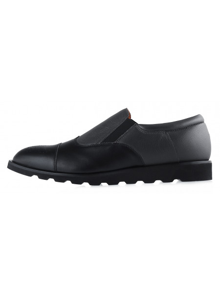 20179 CONHPOL (Poland ) Ботинки осенние кожаные черно-серые
