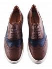 Кеды-броги кожаные BEFEETGERALD (Portugal) 20215 темно-коричнево-синие