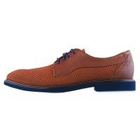 20245 CONHPOL DYNAMIC (Poland) Туфли нубуково-кожаные коричневые сетка сквозная