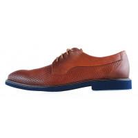 20246 CONHPOL DYNAMIC (Poland) Туфли кожаные коричневые сетка сквозная