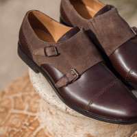 Туфли-монки кожано-замшевые CONHPOL DYNAMIC (Poland ) 20269 темно-коричневые