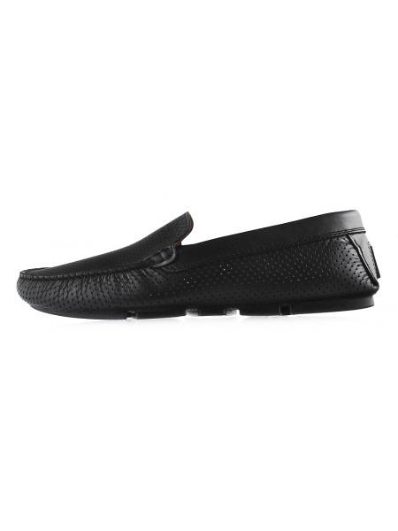 20331 GIANROS (Italy) Мокасины кожаные черные сетка сквозная