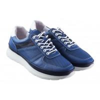 Кроссовки кожаные сетка несквозная DESCARA (Turkey) 20368 синие
