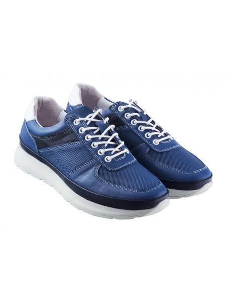 20368 DESCARA (Turkey) Кроссовки кожаные синие сетка несквозная