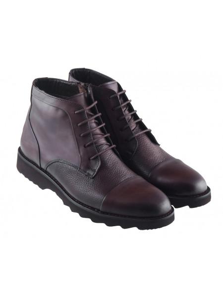 Ботинки осенние кожаные ALBA (Turkey) 20376 темно-коричневые
