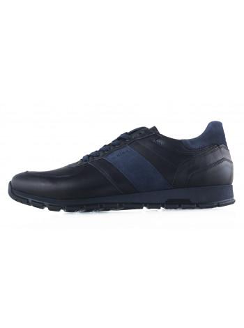 Кроссовки кожаные WOJAS (Poland ) 20435 черно-синие
