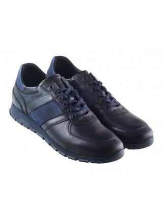 20435 WOJAS (Poland) Кроссовки кожаные черно-синие