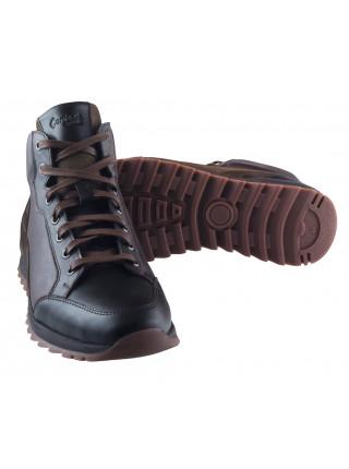 20460 CONHPOL DYNAMIC (Poland) Ботинки-спорт осенние кожаные темно-коричневые