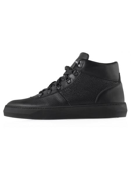 20462 CONHPOL DYNAMIC (Poland) Ботинки-спорт осенние кожаные черные