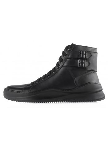 Ботинки-спорт осенние кожаные RYLKO (Poland ) 20477 черные
