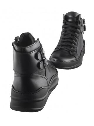 20477 RYLKO (Poland) Ботинки-спорт осенние кожаные черные