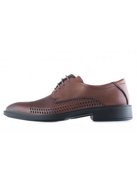 Туфли кожаные сетка сквозная ESSE (Turkey) 20503 коричневые