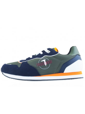 Кроссовки замшево-текстильные TRUSSARDI (ИТАЛИЯ) 20533 зелено-синие