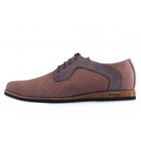 20562 CONHPOL DYNAMIC (Poland) Туфли-спорт нубуковые коричневые сетка сквозная