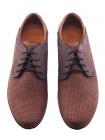 Туфли-дерби нубуковые сетка сквозная CONHPOL (Poland) 20562 коричневые