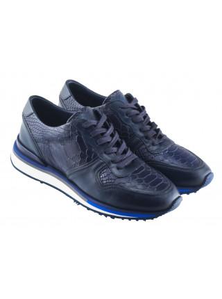 Кроссовки кожаные под рептилию SIGOTTO UOMO (Turkey) 20588 синие
