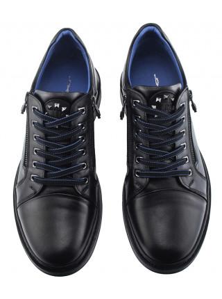 Ботинки-спорт осенние кожаные JOHN RICHARDO (Turkey) 20593 черные