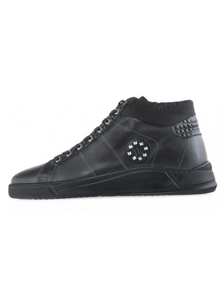 BLACK кеды кожаные JOHN RICHARDO (Turkey) 20636 черные