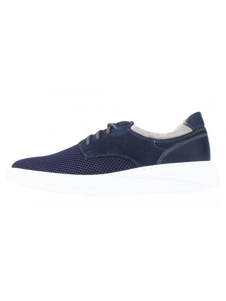 Кроссовки кожаные текстильные мужские RYLKO (Poland) 20656 синие