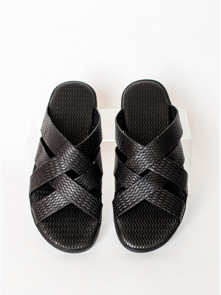 Шлепанцы кожаные JOHN RICHARDO (Turkey) 20673 чёрные