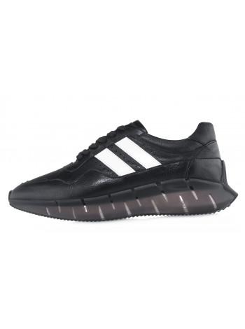 Кроссовки кожаные SIGOTTO UOMO (Turkey) 20677 чёрные