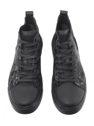 Кеды кожаные SIGOTTO UOMO (Turkey) 20679 чёрные
