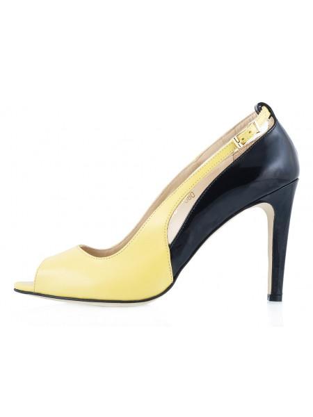 10026 GUBAN (Romania) Туфли Открытые Кожано-Лаковые Желто-Черные