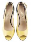 Туфли открытые кожано-лаковые GUBAN (Romania) 10026 желто-черные